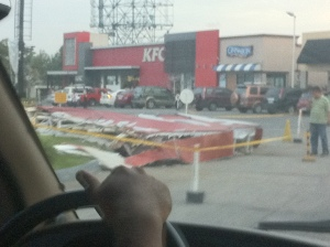 The sign of the fast food resto fell
